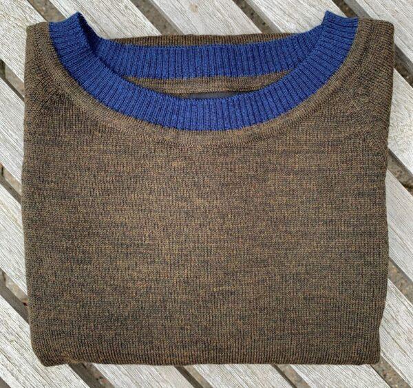 Kortærmet strikbluse, With a Twist no. 1 mørk khaki